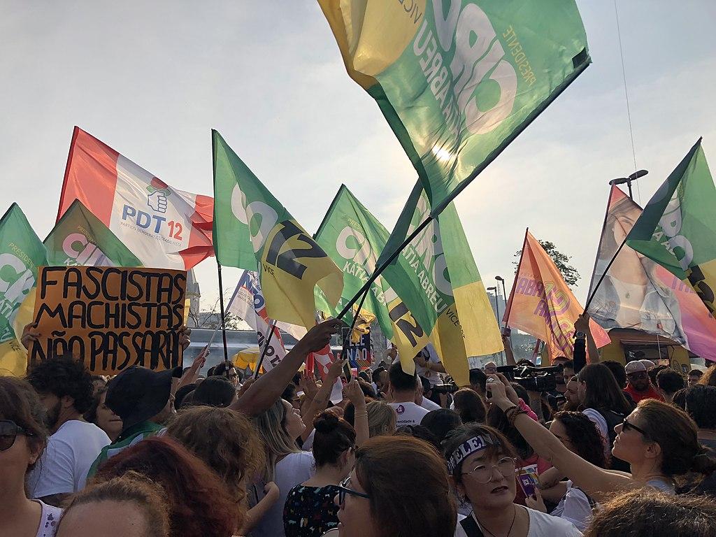 Demonstration against presidential candidate Jair Bolsonaro at Largo da Batata in São Paulo city, Brazil. 29 September 2018.