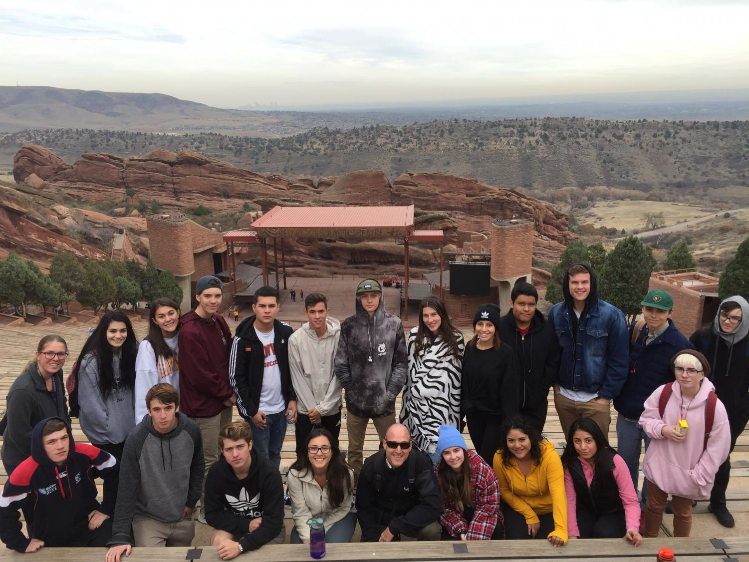 BHS Geology students gather for lunch at Red Rocks Amphitheater to study the geology of the amphitheater comprised of a 300 million year old rock formation (fountain formation) that has been uplifted from depths as deep as 10,000 feet below.