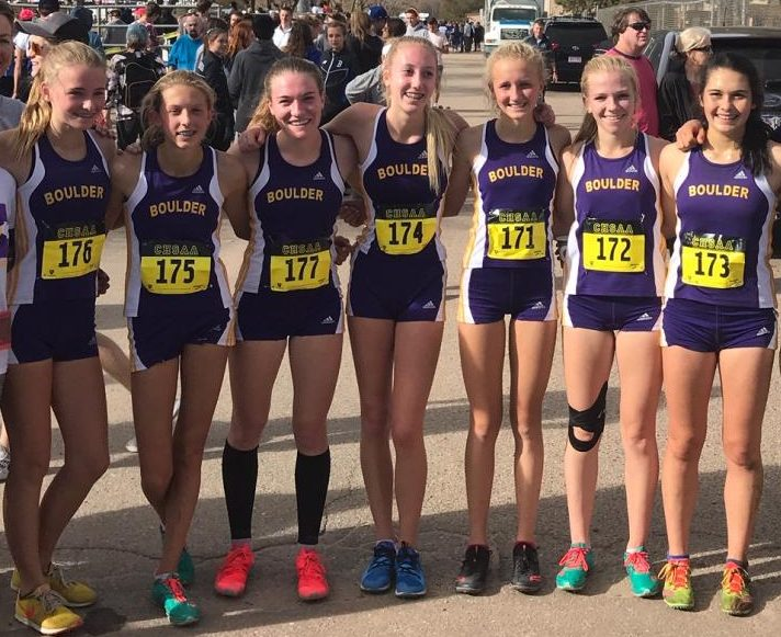 Runners, left to right: Marist Wrenn (FR), Stella Vieth (FR), Kate Zacharias (SR) Olivia Kurtz (FR) Bettina Burgess (SO), Lilly Chesher (JR), Izzy Heart (SR)