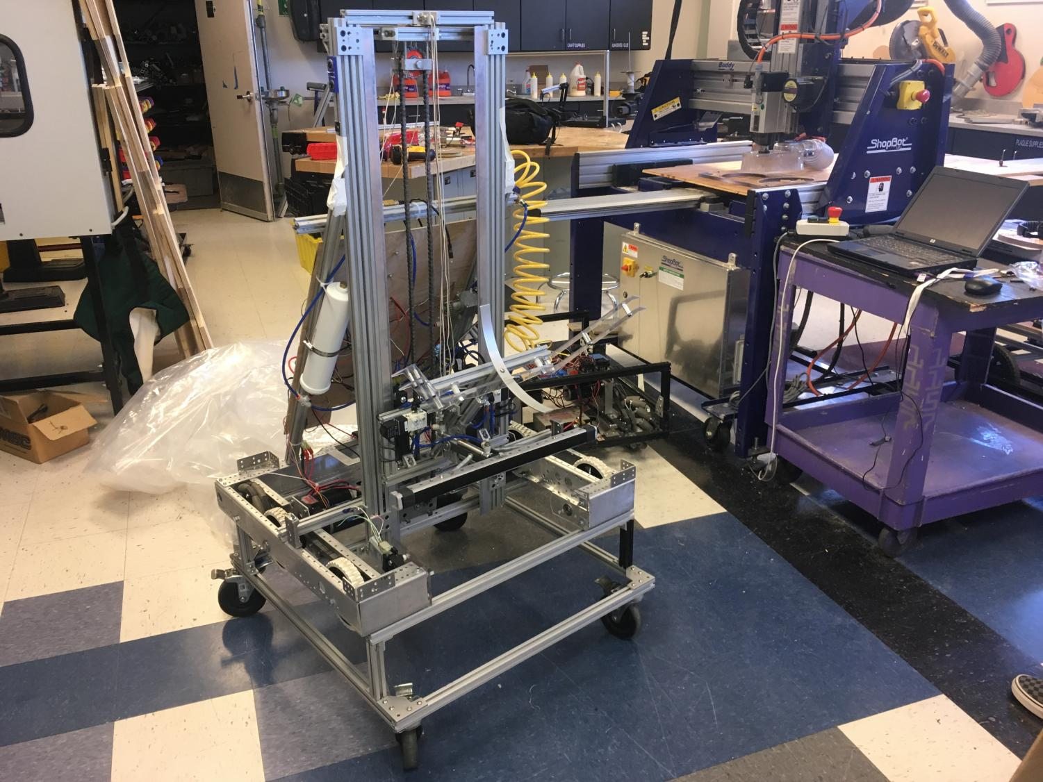 Landsharks' competing robot for 2019, built to focus on hatch panels and the rocket itself