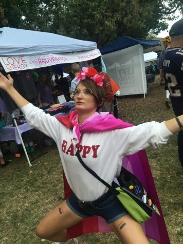 Gigi, a sophomore at Boulder High and GSA member, poses for a photo at Pridefest.