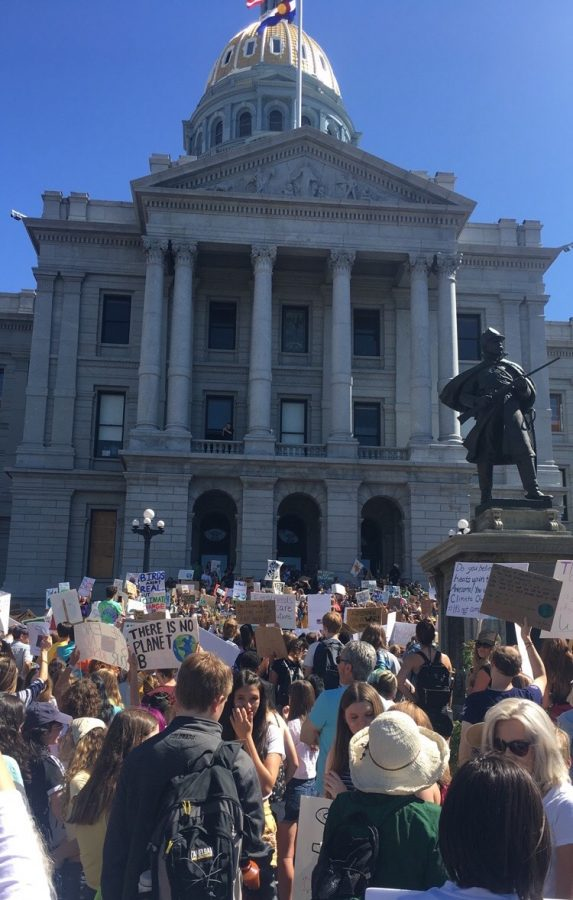 Students from the Colorado area congregate at the Colorado State Capitol Building during the Denver Climate Strike on Friday September 20th.