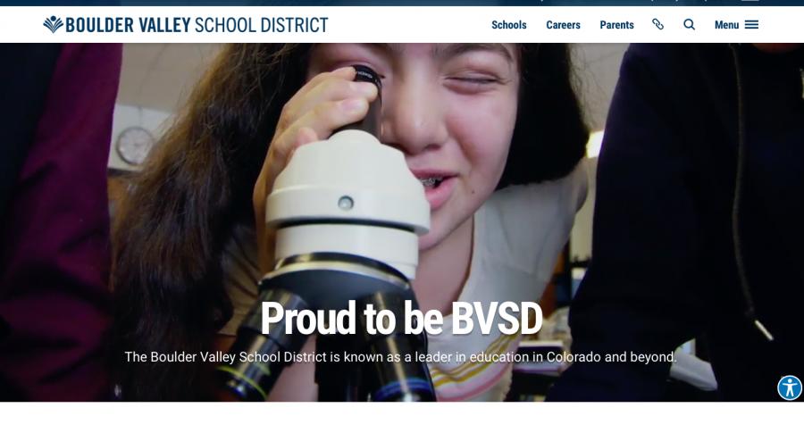 Screenshot of new BVSD website.
