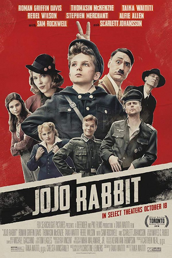 The+movie+poster+for+Jojo+Rabbit%2C+featuring+the+titular+character+Jojo+%28played+by+Roman+Griffin+Davis%29+at+the+front%2C+alongside+various+members+of+the+supporting+cast%2C+including+his+mother+%28Scarlett+Johansson%29%2C+Adolph+Hitler+%28Taika+Waititi%29%2C+and+Elsa+%28Thomasin+McKenzie%29.+Photo+courtesy+of+IMbd.