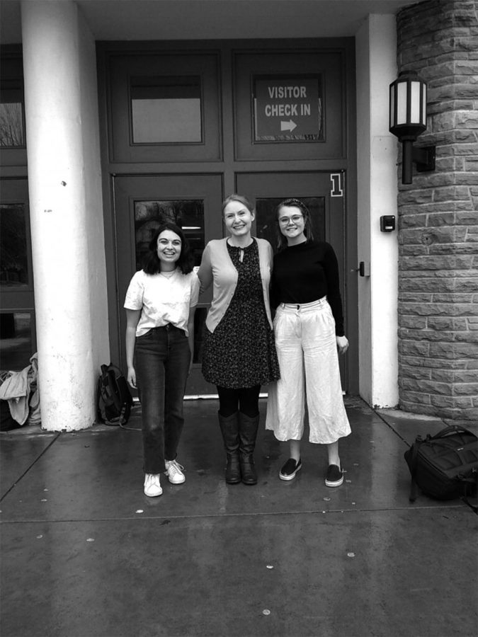 Akasha Brahmbhatt, Olivia Meikle, and Holly Sharfoth in front of Boulder High School. Photo by Natalie Mayurama.