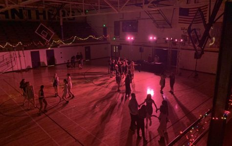 An aerial shot of the vast and underpopulated Pit during the winter informal dance.