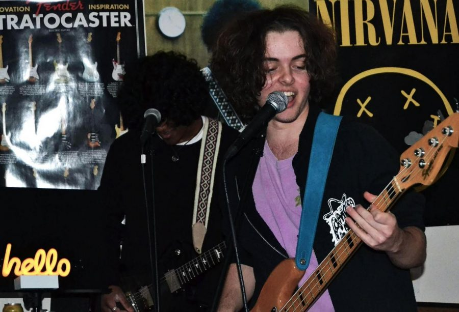 Since his departure from PTV, former BHS student Zander Christoff (right) has been keeping busy with his role as guitarist and vocalist in local bands the Night Shift and Tanguel. Here, he performs with fellow Night Shift member Zach Dhaliwal (left).