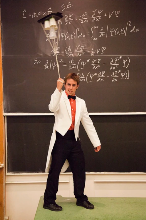 Mr O'Block strikes a pose as the science consultant for the Visindi Circus at a fundraiser at CU.
