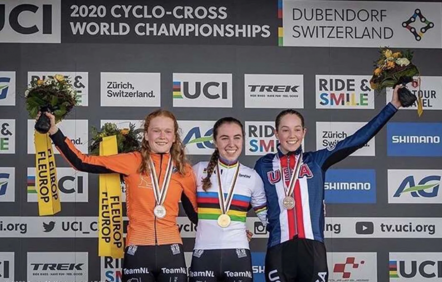 Maddie Munro (right) stands on the podium with Shirin Van Anrooij and Puck Pieterse after her 3rd place finish. Photo courtesy of Michaela Thompson.