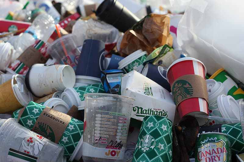 Single-use cups and other assorted trash are shown in a landfill. Via Pikrepo
