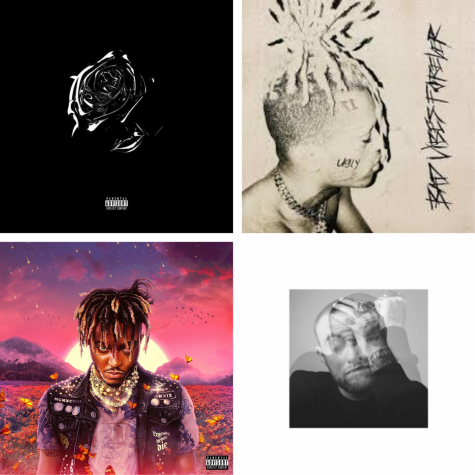 Some of the most popular posthumous albums released in the last year include music from Pop Smoke, XXXTentaction, JuiceWRLD and Mac Miller (top left to bottom right.)