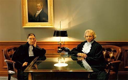 Ruth Bader Ginsburg (left) pictured beside fellow justice Sandra Day O'Connor. O'Connor was the first female judge appointed to the Supreme Court.