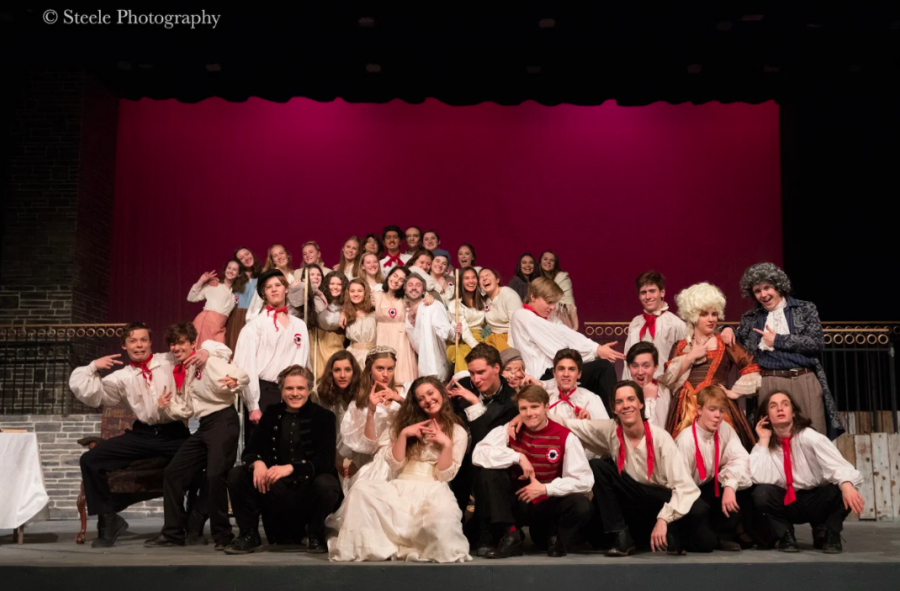 Cast photo from the Spring 2019 production of Les Miserables at Boulder High.
