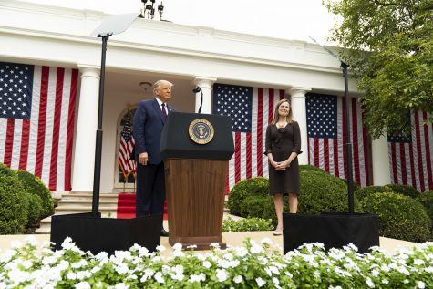 President Trump with his Supreme Court Justice pick, Amy Coney Barret, who will replace the late Justice, Ruth Bader Ginsburg.