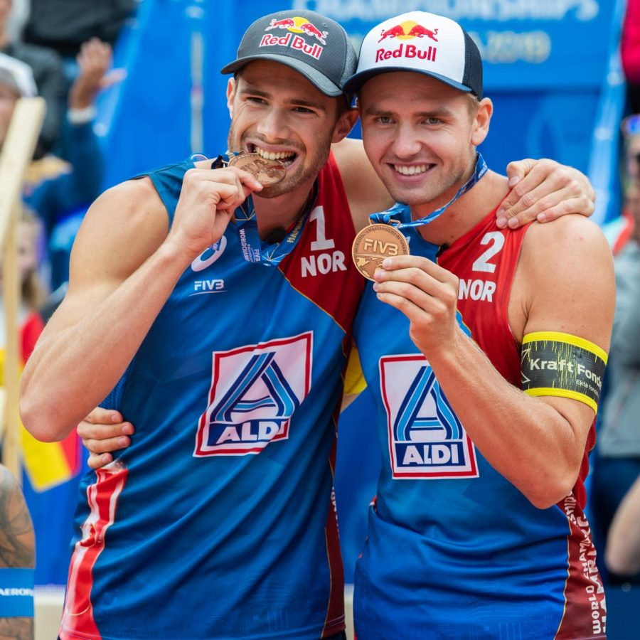 Anders Mol and Christian Sorum hold bronze medals after their 3rd place finish in Hamburg, Germany.