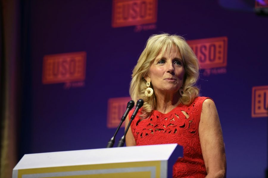 Dr. Jill Biden in 2016 at the USO Gala. Biden is a military mom, an educator and the future FLOTUS of the United States.