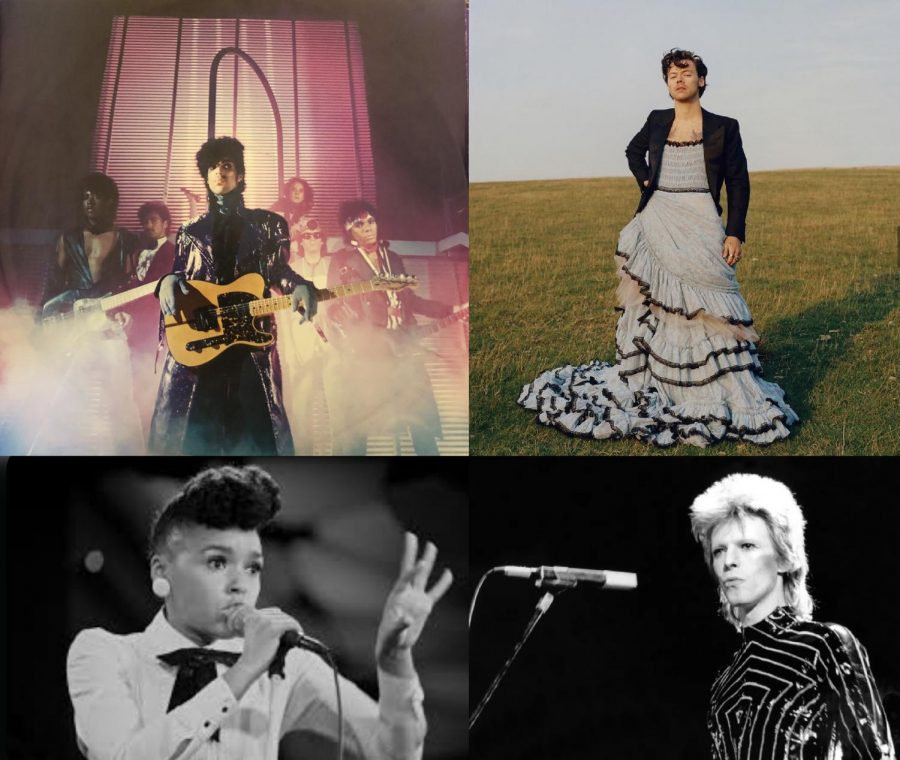 Clockwise from top left: Prince via 1999, Harry Styles via Vogue Instagram, David Bowie via iHeartRadio,   Janelle Monáe via Wikipedia