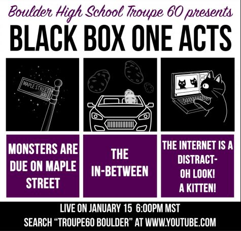 Black Box will be live-streamed on Friday, January 15th. Drawings are done by Leo Serveter, Graphic via Rachel Zaring.