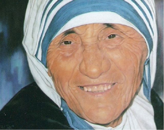 A photorealism paint of Mother Theresa by Palou